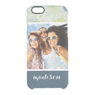 Custom Photo & Name Stylish Floral Pattern Clear iPhone 6/6S Case