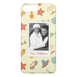 Custom Photo & Name Summer Beach Pattern iPhone 7 Plus Case