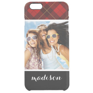 Custom Photo & Name Wallace tartan background Clear iPhone 6 Plus Case