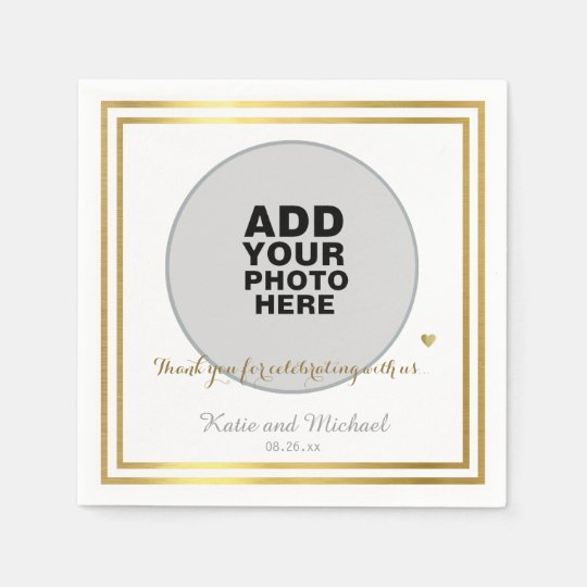 custom photo or graphics, wedding paper napkin