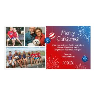 Custom Photo Patriotic Christmas Cards Photo Greeting Card