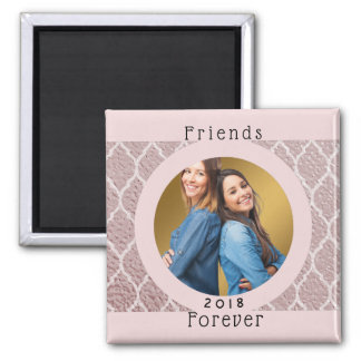 Custom Photo Personalized Friends Forever Pink Magnet