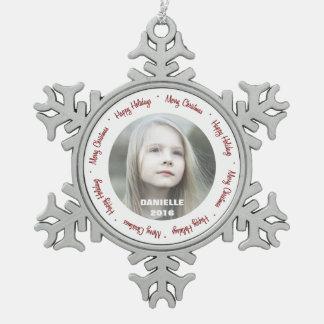 Custom Photo Pewter Snowflake Ornament