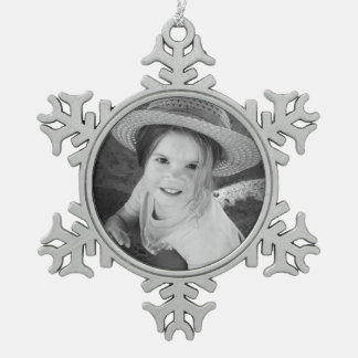 Custom Photo Pewter Snowflake Ornament Template