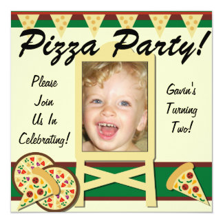 Custom Photo Pizza Party Invitations