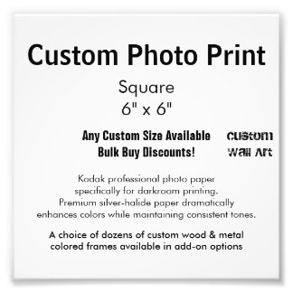 "Custom Photo Print - Square  6"" x 6"""