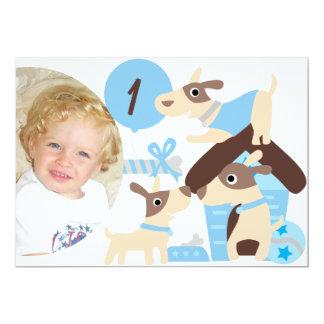Custom Photo Puppy Dog Blue Birthday Invitation