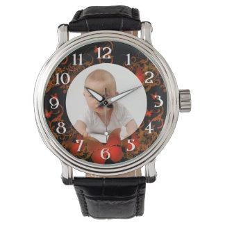Custom photo/ Red Butterfly frame Wristwatch
