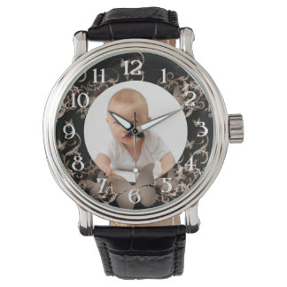 Custom photo/ Sepia Butterfly frame Wrist Watches