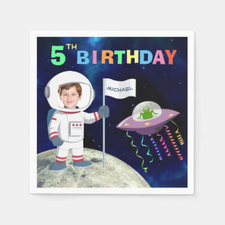 Custom Photo Spaceman Birthday Paper Serviettes