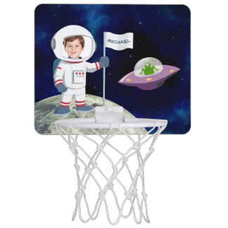 Custom Photo Spaceman on Moon Mini Basketball Hoop