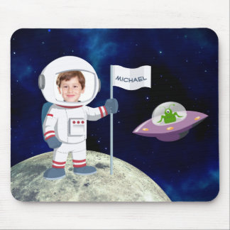 Custom Photo Spaceman on Moon Mouse Pad