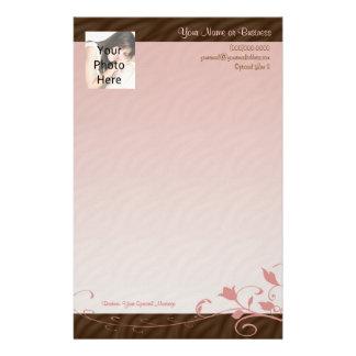 Custom Photo Stationery, Pink Swirl Personalized Stationery