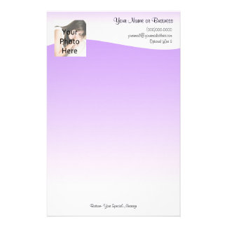 Custom Photo Stationery, Purple Wave Stationery