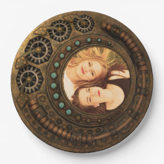 Custom Photo Steampunk Clock Time Metal Gears Paper Plate