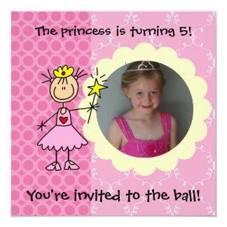 Custom Photo Stick Figure Princess Invitation