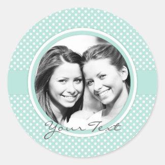 Custom photo stickers mint polka dots