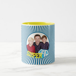 Custom Photo Super Dad Comic Two-Tone Coffee Mug