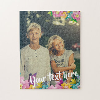 Custom Photo Text Animated Flowers and Butterflies Jigsaw Puzzle