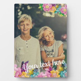 Custom Photo Text Animated Flowers and Butterflies Plaque