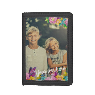 Custom Photo Text Animated Flowers and Butterflies Tri-fold Wallet