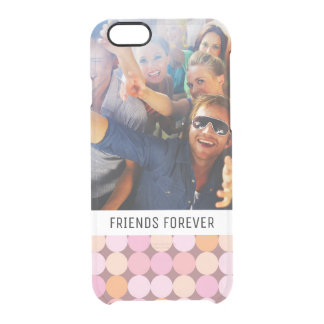 Custom Photo & Text Pink and Orange Polka Dots Clear iPhone 6/6S Case