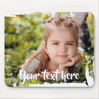 Custom Photo Text Pink White Paint Streaks Borders Mouse Pad