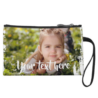 Custom Photo Text Pink White Paint Streaks Borders Wristlet