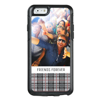 Custom Photo & Text Pixel Plaid in Grey & Red OtterBox iPhone 6/6s Case