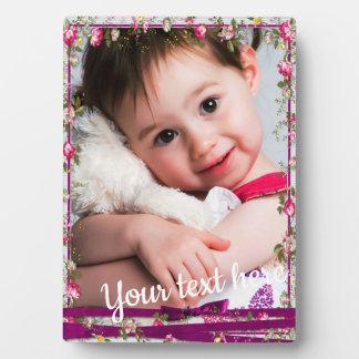 Custom Photo Text Purple Ribbon Floral Frame