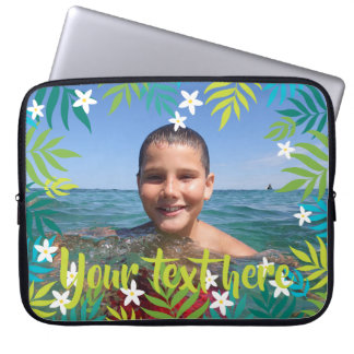 Custom Photo Text Tropical Green Leaves Borders Laptop Sleeve
