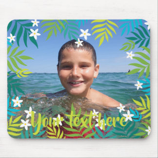 Custom Photo Text Tropical Green Leaves Borders Mouse Pad