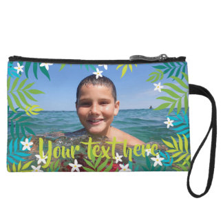 Custom Photo Text Tropical Green Leaves Borders Wristlet