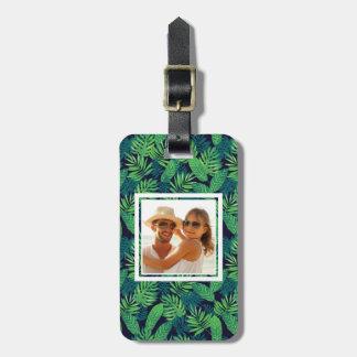 Custom Photo Tropical Leaves Pattern Luggage Tag