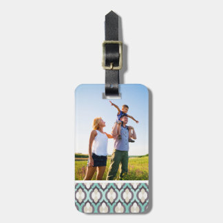 Custom Photo Turquoise Moroccan Pattern Luggage Tag