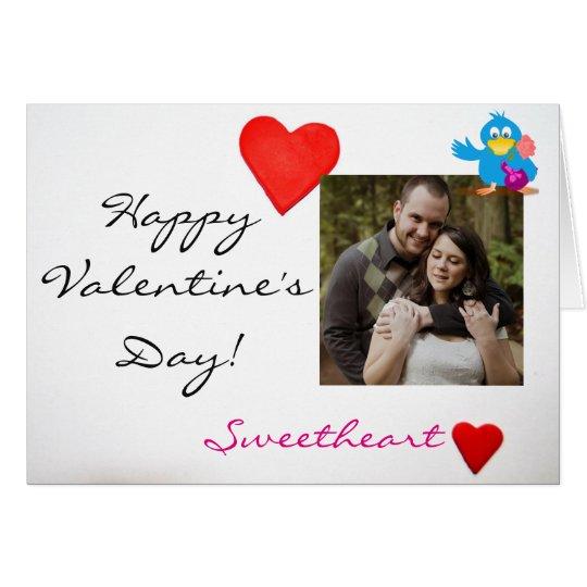 Custom Photo & Valentine's Day Love Bird (blue) Card