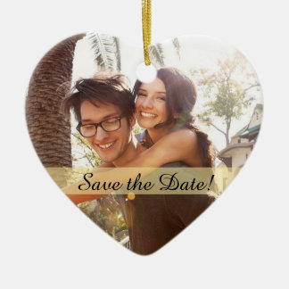 Custom Photo Wedding Save the Date Ceramic Ornament