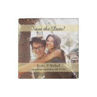 Custom Photo Wedding Save the Date Stone Magnet