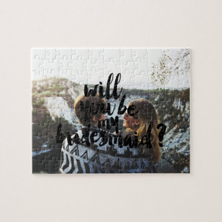 Custom photo will you be my bridesmaid typography jigsaw puzzle