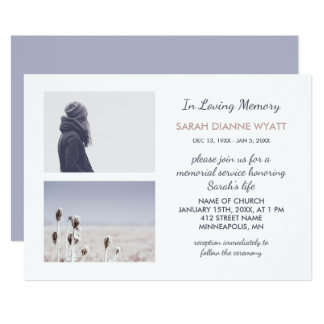 Custom Photo   Winter Memorial Service Card