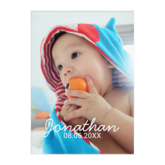 Custom Photo with Name and Date Acrylic Print