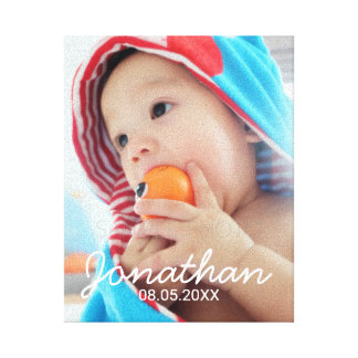 Custom Photo with Name and Date Canvas Print
