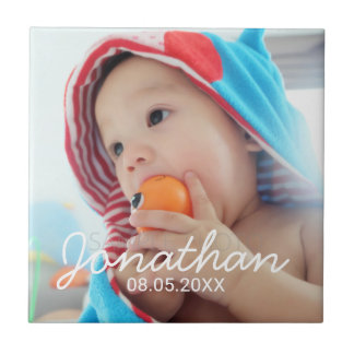 Custom Photo with Name and Date Ceramic Tile