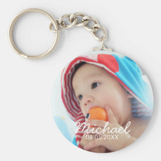 Custom Photo with Name and Date Key Ring