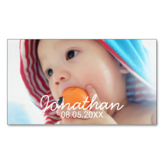 Custom Photo with Name and Date Magnetic Business Card