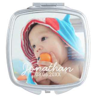 Custom Photo with Name and Date Makeup Mirror