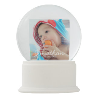 Custom Photo with Name and Date Snow Globe