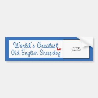 Custom Photo! Worlds Greatest Old English Sheepdog Bumper Sticker