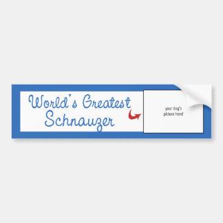 Custom Photo! Worlds Greatest Schnauzer Bumper Sticker