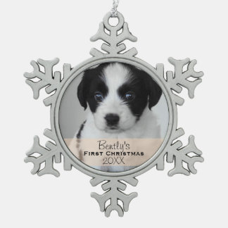 Custom Photo Year Puppy's First Christmas Pewter Snowflake Decoration